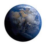 与云彩和大气的行星地球 非洲视图 免版税库存图片