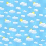 与云彩和太阳的无缝的样式 免版税库存照片