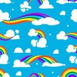 与云彩和彩虹的无缝的样式 向量例证