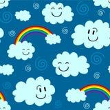 与云彩的逗人喜爱的无缝的样式 免版税图库摄影
