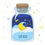与云彩和星的动画片月牙在一个不可思议的玻璃瓶子 免版税图库摄影