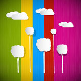 与云彩和树的五颜六色的背景 图库摄影