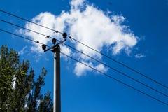 与云彩和输电线的天空 免版税库存照片