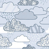 与云彩和雨的传染媒介样式 免版税库存图片