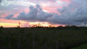 与云彩的五颜六色的日落天空在沼泽地 股票录像