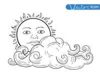 与云彩的太阳乱画手拉的收藏 向量例证