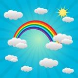 与云彩的彩虹背景 免版税库存图片