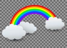 与云彩的彩虹- 向量例证