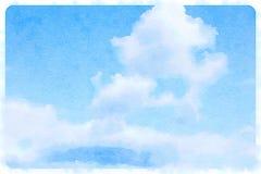与云彩的水彩蓝天 库存图片