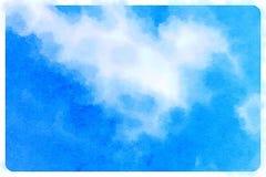 与云彩的水彩蓝天 库存照片