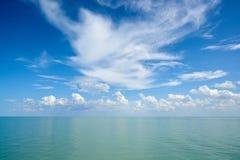 与云彩的水表面 免版税库存图片