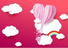 与云彩的纸艺术样式心脏形状气球飞行 库存图片