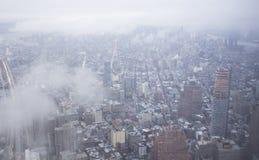 与云彩的纽约都市风景 库存图片