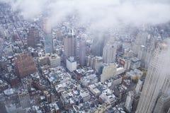 与云彩的纽约都市风景 免版税库存图片