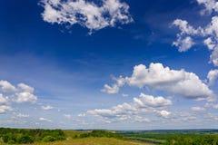 与云彩的蓝天在一个开花的草甸在夏天 库存照片