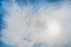 与云彩的蓝天,背景材料 库存图片