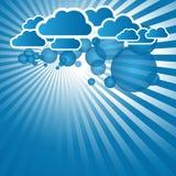 与云彩的蓝色抽象背景 库存图片