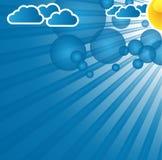 与云彩的蓝色抽象背景 免版税图库摄影