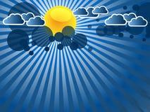 与云彩的蓝色抽象背景 免版税库存图片