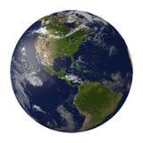 与云彩的行星地球。北部和南美。 免版税图库摄影
