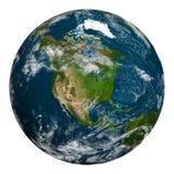 与云彩的行星地球 美国成象映射美国航空航天局北部 免版税库存照片