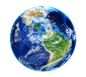 与云彩的行星地球 图库摄影