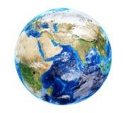 与云彩的行星地球 免版税图库摄影