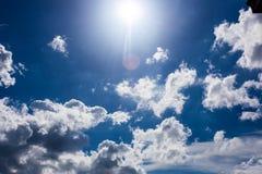 与云彩背景墙纸的蓝天 免版税库存图片