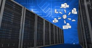 与云彩计算的概念的数据库服务器系统在背景中 库存照片