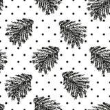与云杉的分支的圣诞节圆点无缝的样式 免版税库存照片