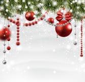 与云杉的分支的圣诞节多雪的背景 皇族释放例证