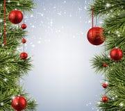 与云杉的分支的圣诞节背景 库存照片
