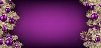 与云杉的分支的紫罗兰色圣诞节背景 库存例证