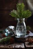 与云杉的分支的静物画在一个玻璃瓶 免版税库存图片