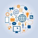 与互联网和社会网络的事务 免版税库存照片