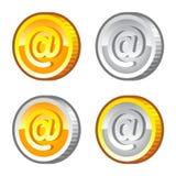 与互联网标志的硬币 免版税图库摄影