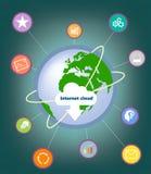 与互联网的向量图形覆盖,在行星的世界` s贮藏库与脚注 库存例证