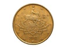 与五十欧分的面额的欧洲硬币 库存照片