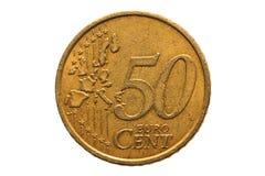 与五十欧分的面额的欧洲硬币 免版税库存照片