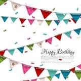 与五彩纸屑和旗布旗子的生日贺卡 免版税库存照片