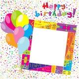 与五彩纸屑和气球的生日快乐五颜六色的卡片 免版税库存照片