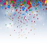 与五彩纸屑的庆祝背景在天空 免版税库存图片