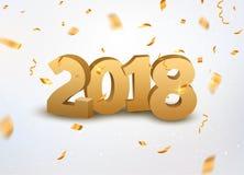 与五彩纸屑的新年2018 3d金黄数字背景 2018个在白色的假日庆祝卡片金黄五彩纸屑 免版税库存图片
