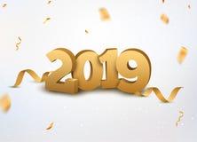 与五彩纸屑的新年2019 3d金黄数字背景 2019个在白色的假日庆祝卡片金黄五彩纸屑 向量例证