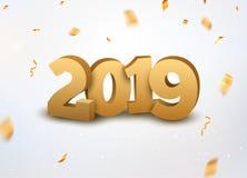 与五彩纸屑的新年2019 3d金黄数字背景 2019个在白色的假日庆祝卡片金黄五彩纸屑 皇族释放例证