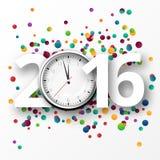 与五彩纸屑的新年好2016年庆祝 库存图片