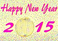 与五彩纸屑的新年快乐2015年 免版税图库摄影