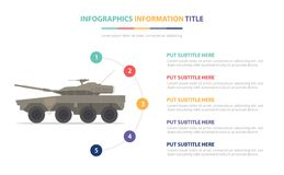 与五点的轻的中型油箱infographic模板概念列出和各种各样的颜色有干净的现代白色背景- 皇族释放例证