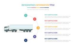 与五点的重型卡车infographic模板概念列出和各种各样的颜色有干净的现代白色背景-传染媒介 向量例证