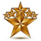 与五角形金黄星标志的迷人的传染媒介模板 库存照片